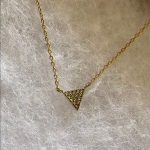 Triangle gold necklace with CZ Banana Republic